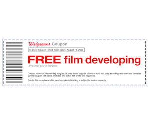 Coupons for film developing