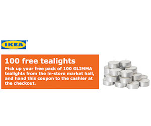 Ikea family members coupon for 100 free tealights for Coupon mobile ikea